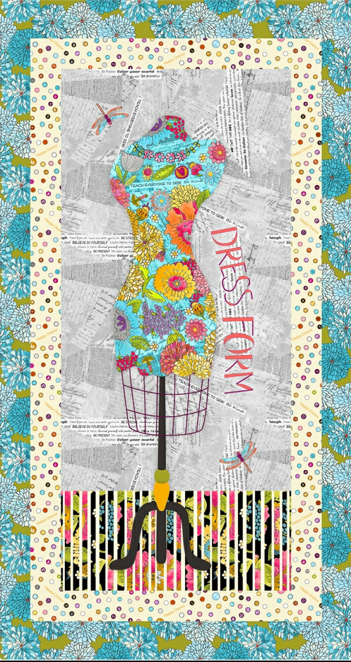 52690P 1 Happy Chance Dress Form Panel by Laura Heine for Windham Fabrics. 100% cotton Size 24 x 42.  PRE-ORDER