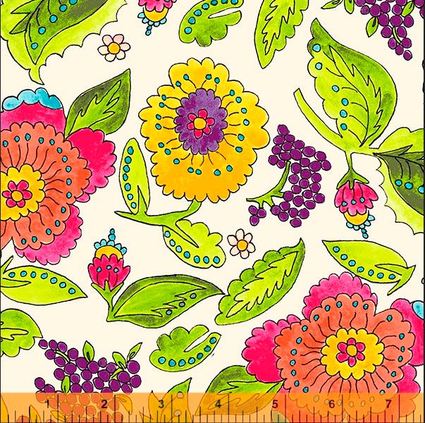 52691 1 Happy Chance Happy Garden by Laura Heine for Windham Fabrics. 100% cotton 43 wide  PRE-ORDER