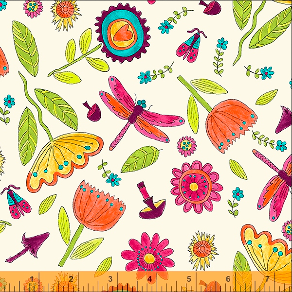 52693 1 Happy Chance Field by Laura Heine for Windham Fabrics. 100% cotton 43 wide  PRE-ORDER