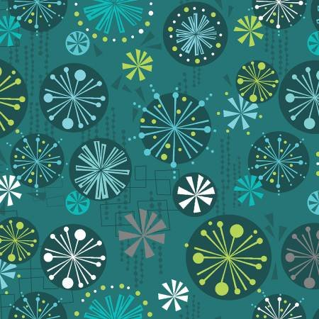 07690 80 BAUBLES & BITS TEAL  FANDANGLE COLLECTION BY CHRISTA WATSON FOR CONTEMPO STUDIO