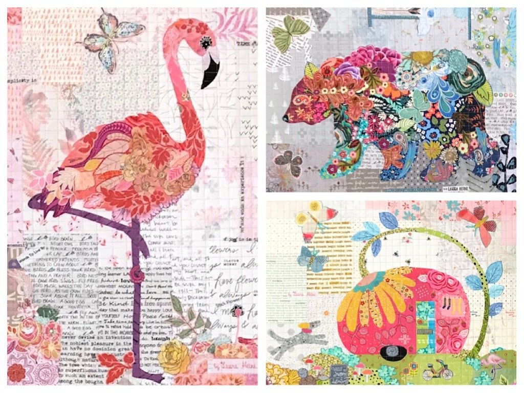 Teeny Tiny Collage PATTERN Group #3 Flamingo, Bear, Trailer