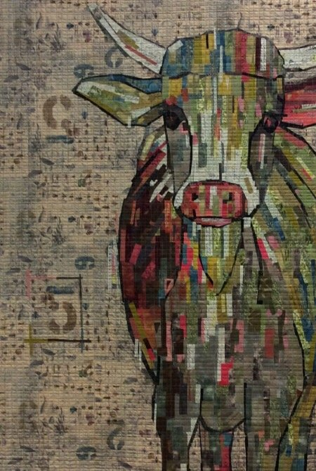 Abilene Cow Painterly Collage  Kit By Laura Heine