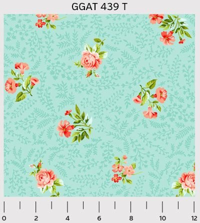GGAT439 T Teal Flowers from Pretty Little Things by Louise Allen