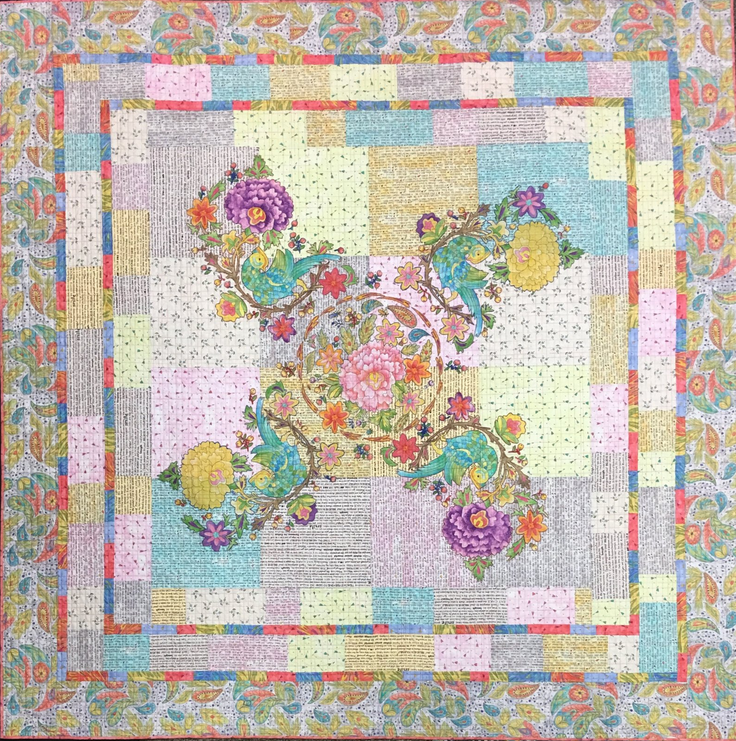 Birds of a Feather Collage Quilt Kit by Laura Heine