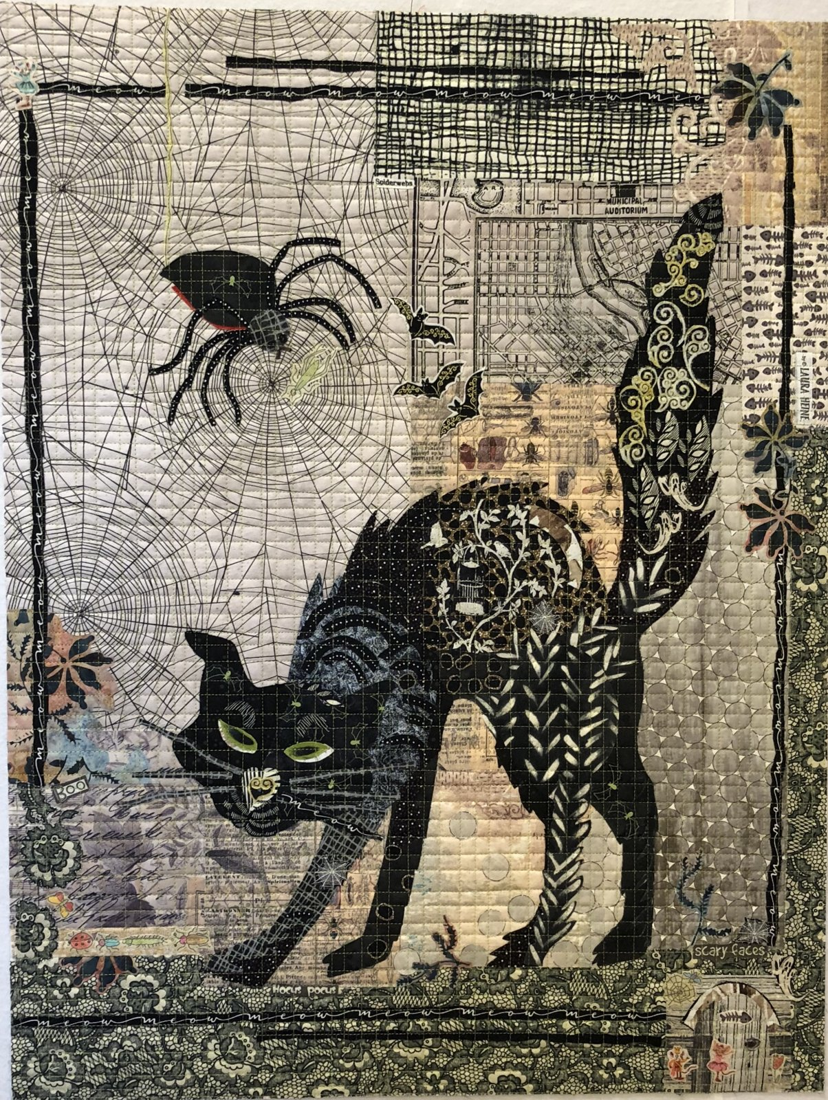 Black Cat Collage Pattern by Laura Heine