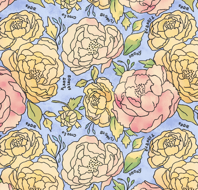 51654 1 Potpourri Bed of Roses by Laura Heine for Windham Fabrics. 100% cotton 43 wide