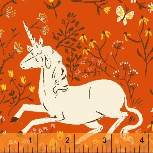 39657 7 Orange Unicorn Far Far Away by Heather Ross for Windham