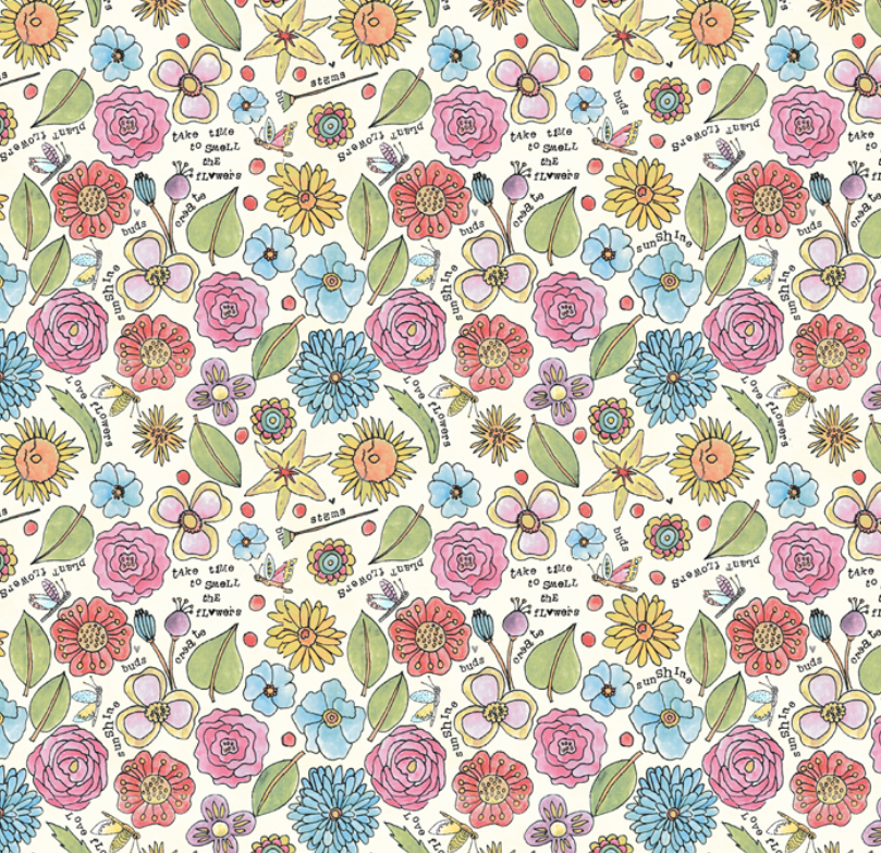 51656 9 Potpourri Smell the Flowers by Laura Heine for Windham Fabrics. 100% cotton 43 wide