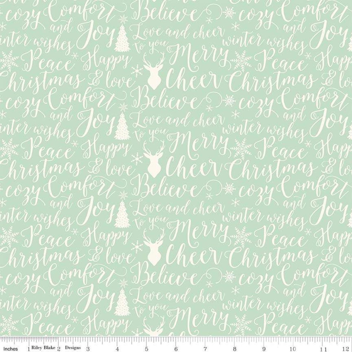 C6264 LT GREEN   COMFORT AND JOY COLLECTION BY DANI MOGSTAD FOR MY MIND'S EYE FOR RILEY BLAKE FABRICS