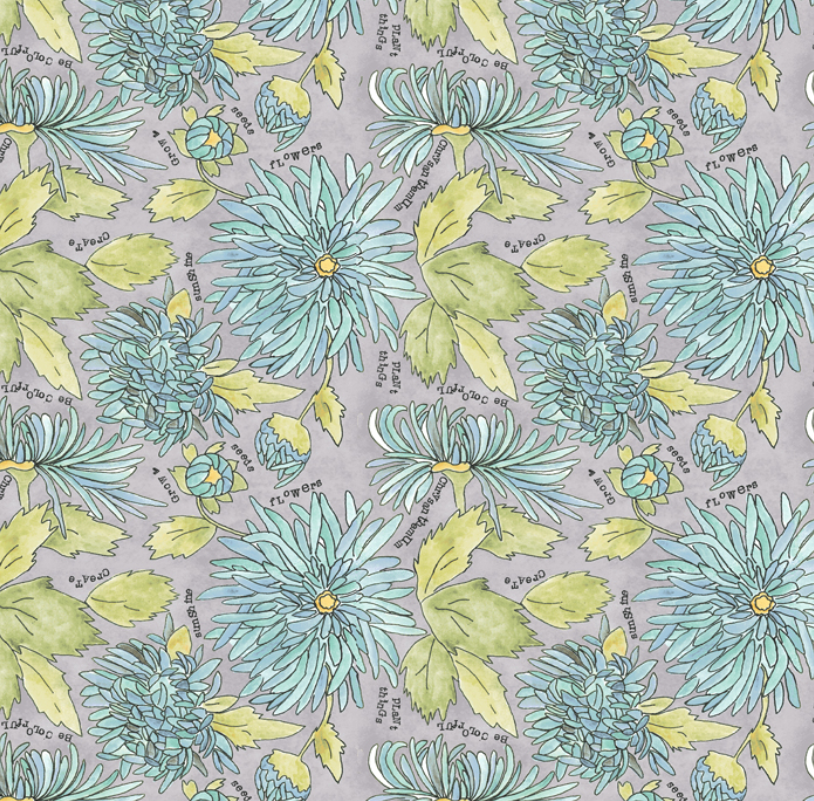 51655 5 Potpourri Chrysanthemums by Laura Heine for Windham Fabrics. 100% cotton 43 wide