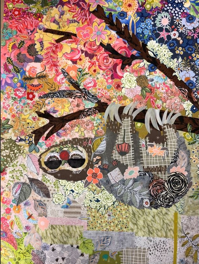Cloth Sloth Collage Pattern by Laura Heine