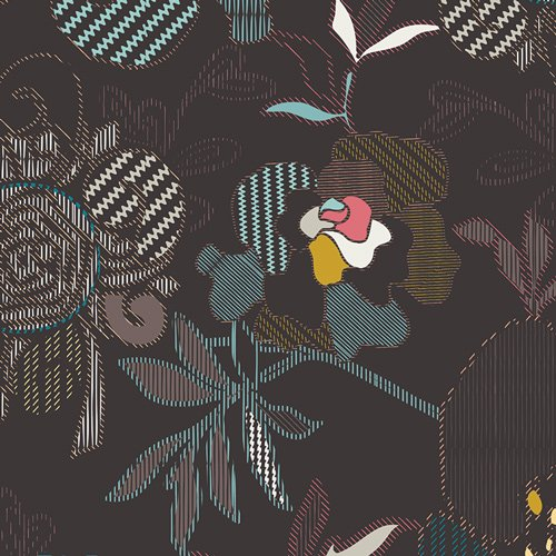 ETN 50040 STITCHED ANTHOMANIA DEEP  ETNO COLLECTION FOR ART GALLERY FABRICS