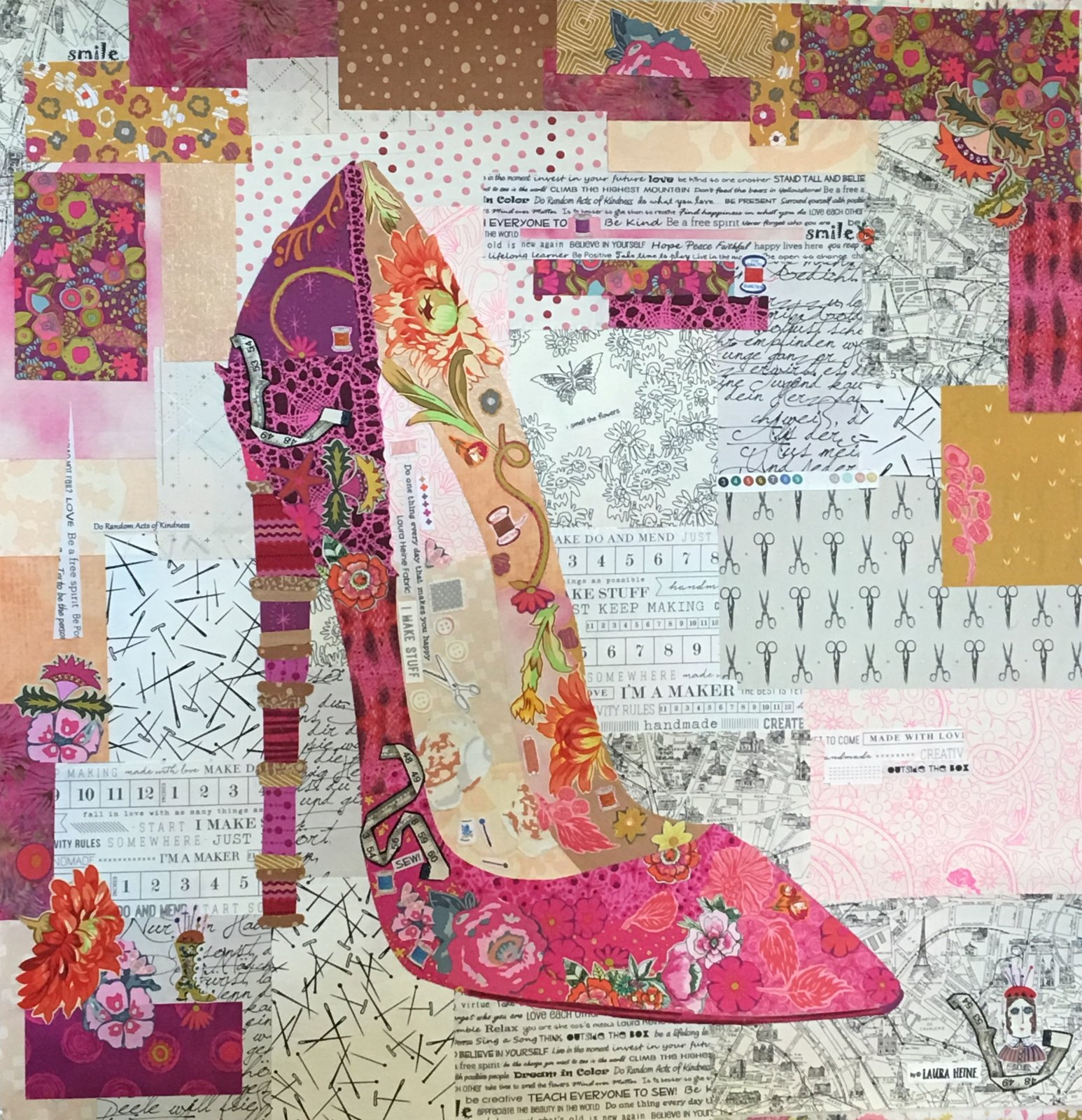 Pink Pump Collage Kit by Laura Heine