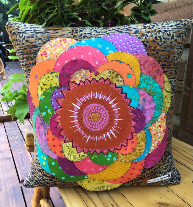 Giant Zinnia Pillow Pattern by Laura Heine