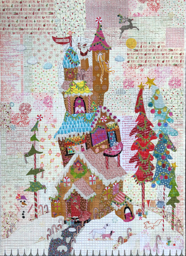 Gingerbread House Collage Quilt Kit by Laura Heine.
