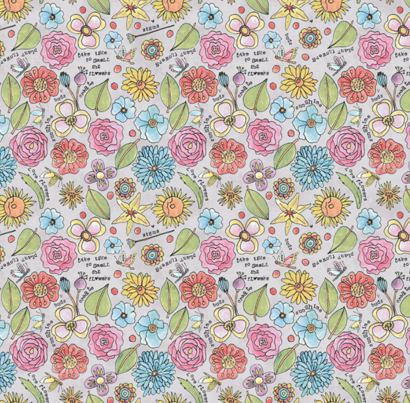 51656 6 Potpourri Smell the Flowers by Laura Heine for Windham Fabrics. 100% cotton 43 wide