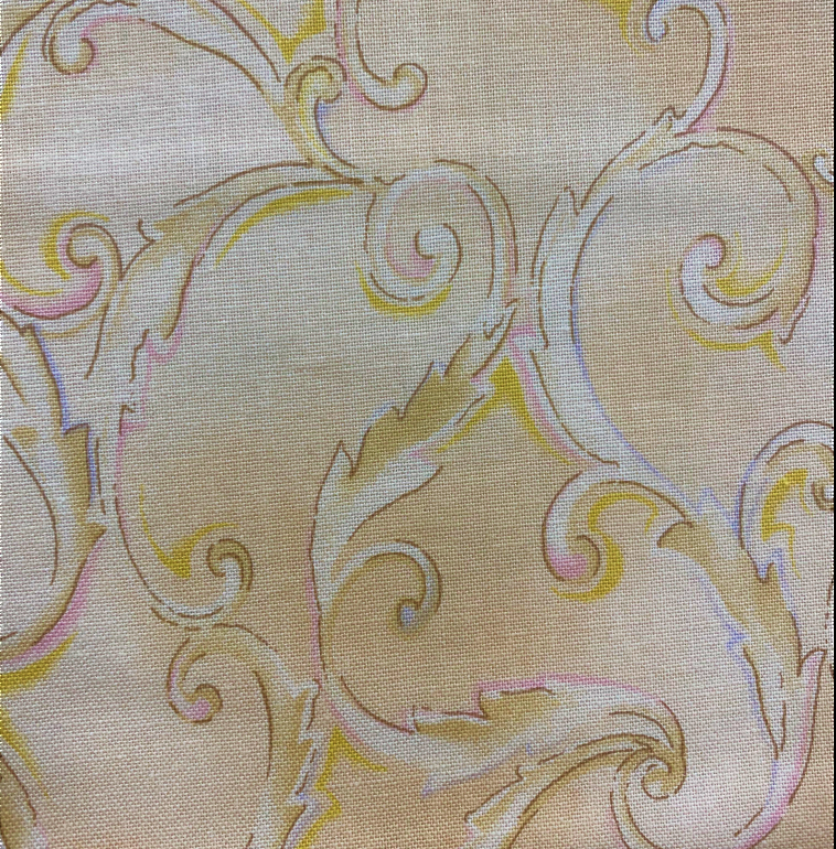 033402 Harmony by Laura Heine for RJR Fabrics. Beige background with a damask design. 100% cotton 43 wide