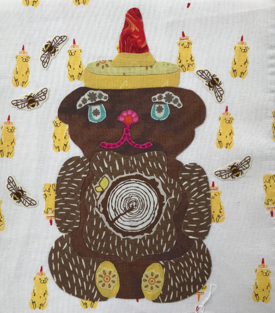 Whatevers! #9 Honey Bear 8 inch Block Collage Pattern Only by Laura Heine.