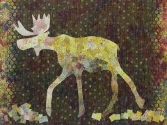 Maddox Moose Batik Collage Pattern by Laura Heine