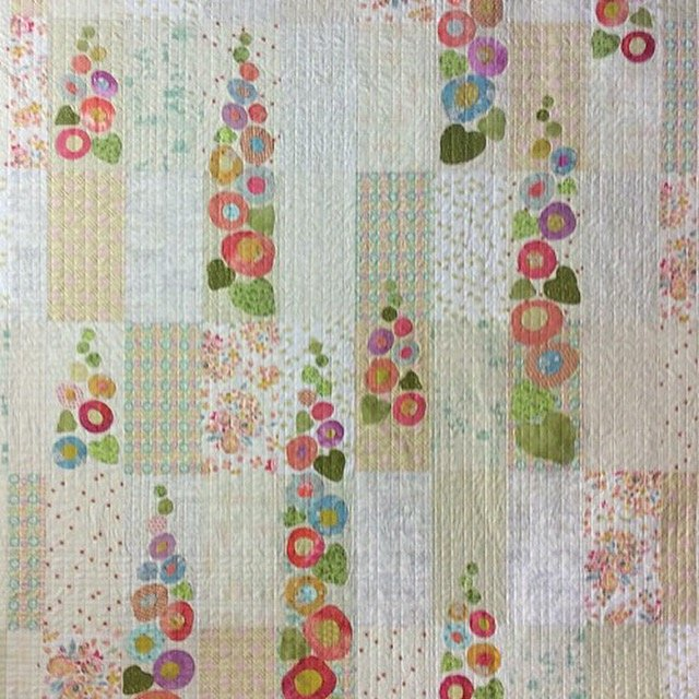 Irene...Grandmothers Hollyhock Flowers Quilt Kit