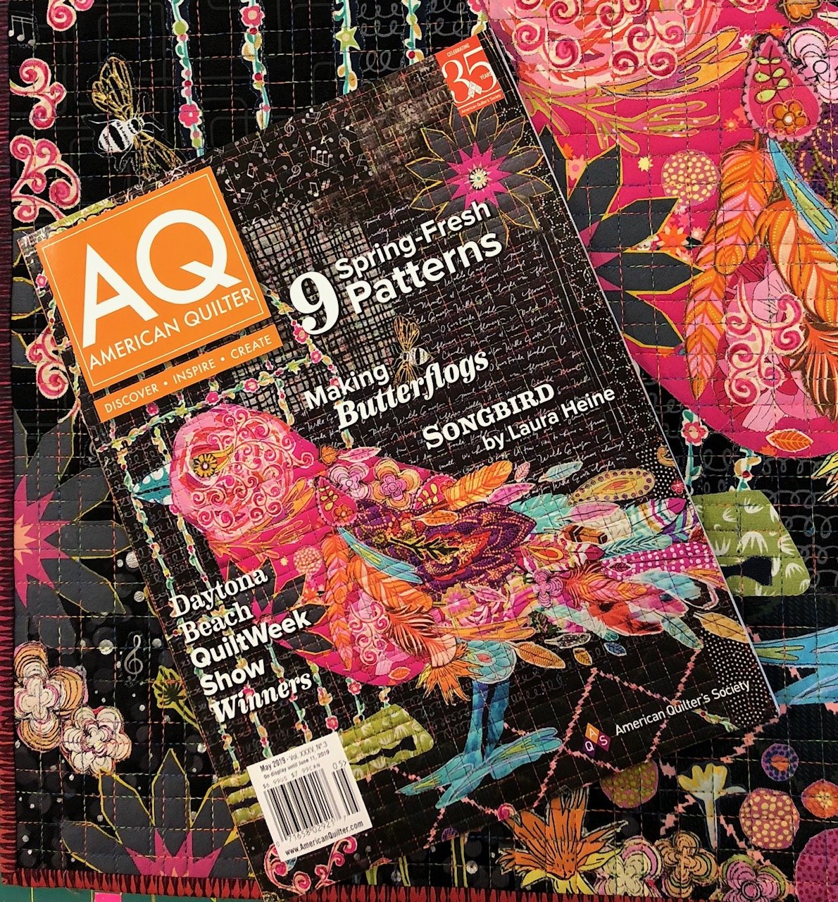 AQS Magazine including Songbird Collage Pattern by Laura Heine