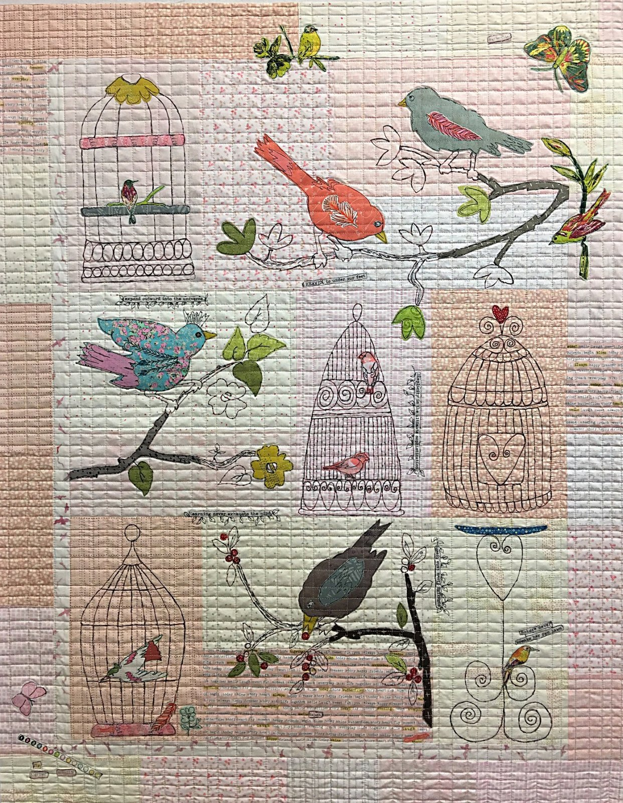 Chirp Chirp Collage andFree Motion Machine Embroidery Pattern by Laura Heine