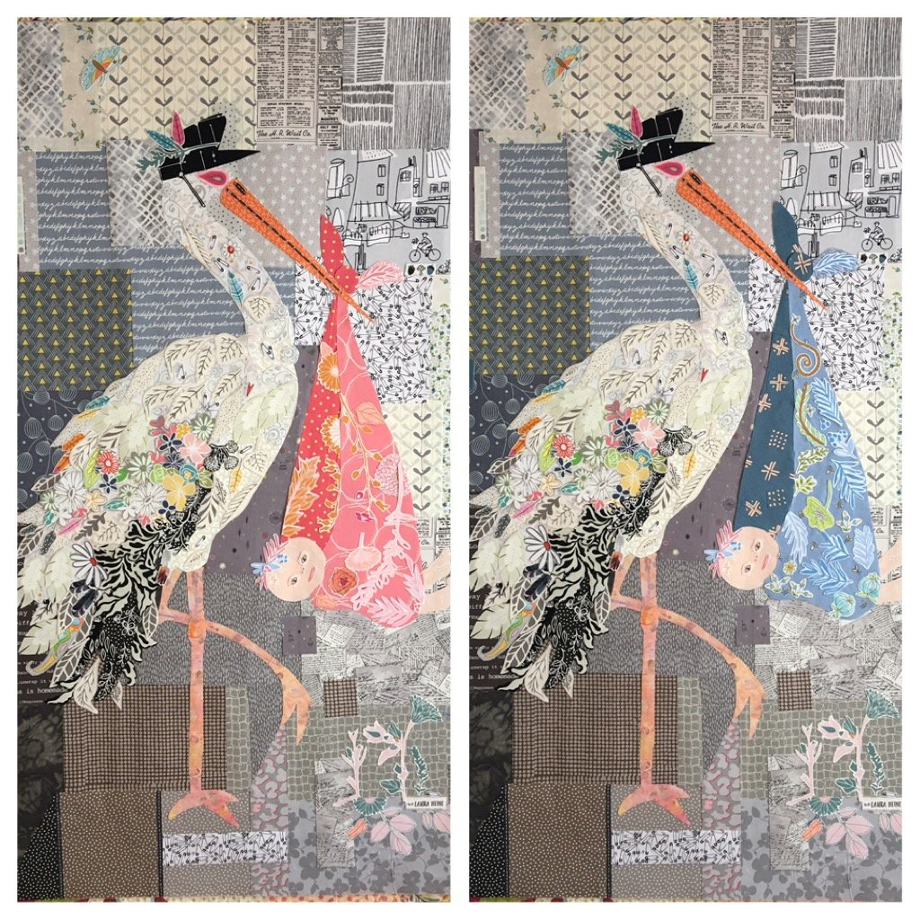 Special Delivery Stork Collage Pattern by Laura Heine