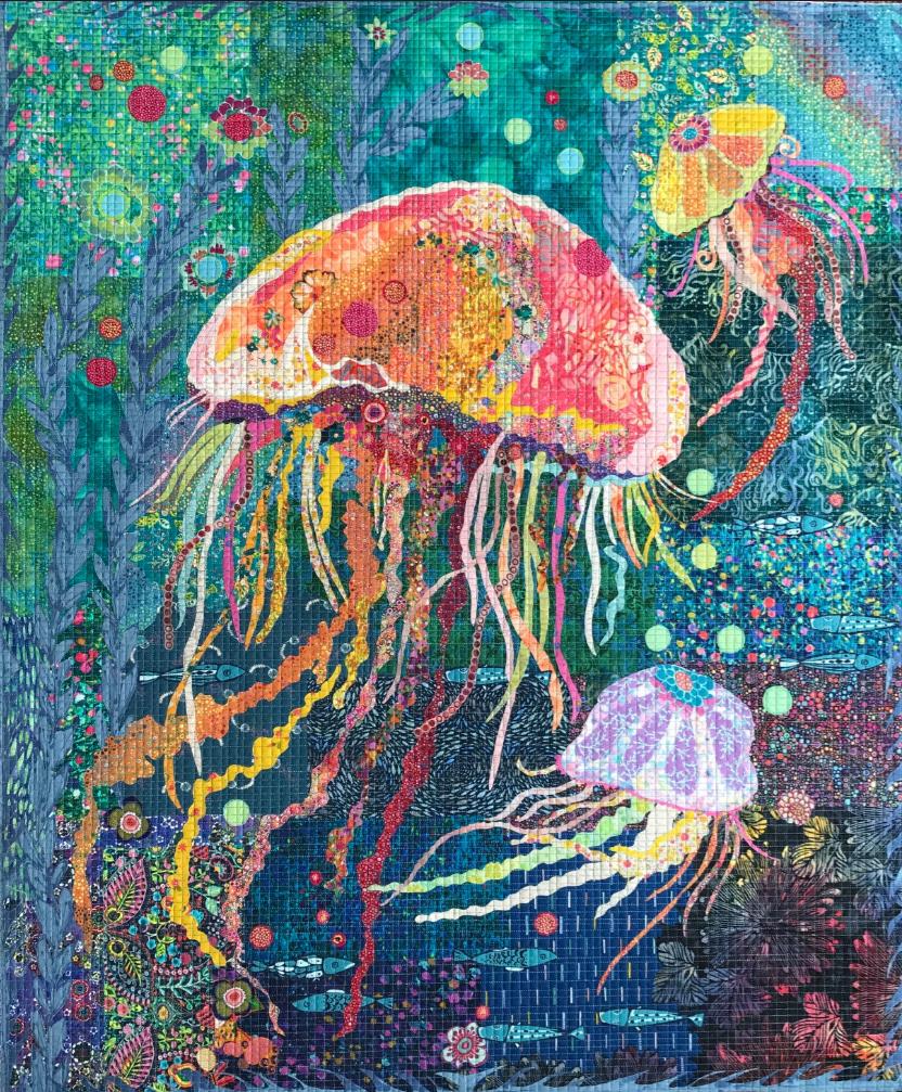Jellie Fish Collage Quilt Kit by Laura Heine