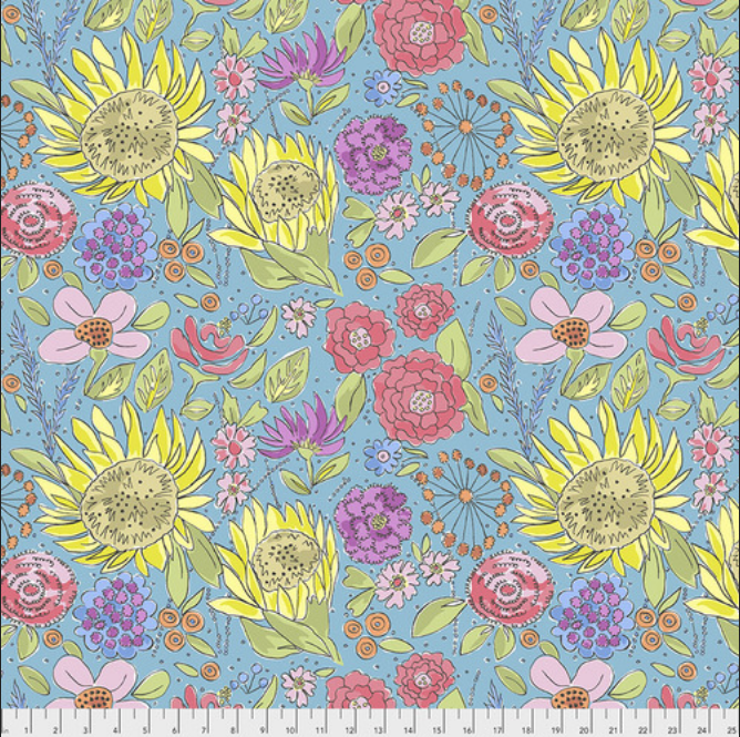 PWLH017 Blue Color Fusion by Laura Heine for FreeSpirit Fabrics. 100% cotton 43 wide