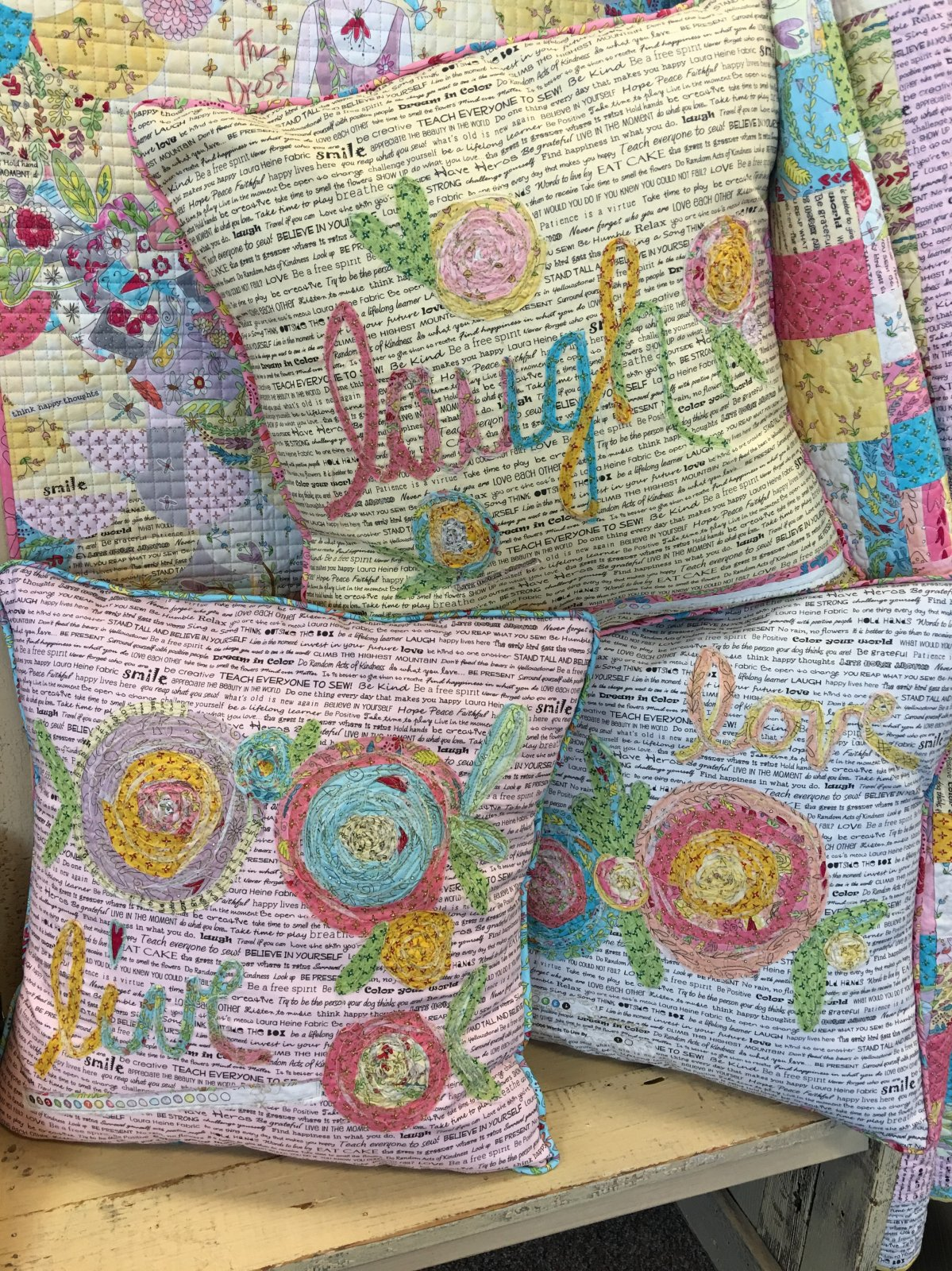 Live Laugh Love Pillows  Pattern by Laura Heine