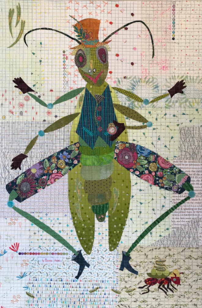 Mr. Peabody (The Grasshopper) Collage Quilt Pattern by Laura Heine