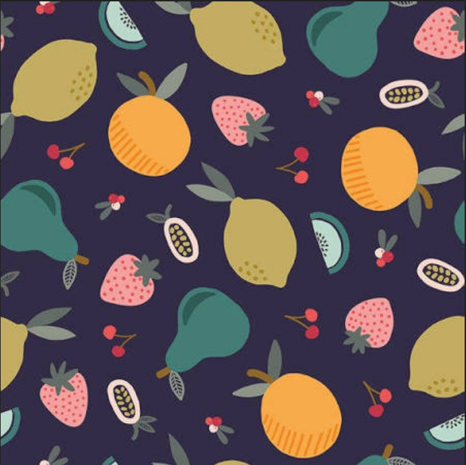 120 19843 Fruity Main Mixed Fruit for Paintbrush Studio. 100% cotton 43 wide