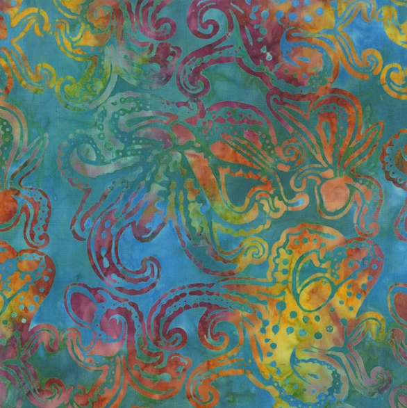 BT7780 MERM D Octopus Batik for Michael Miller Fabrics. 100% cotton 43 wide