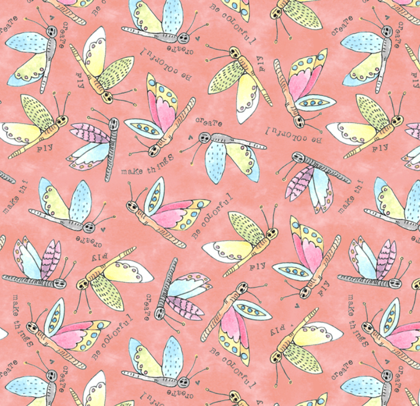 51657 8 Potpourri Flying Critters by Laura Heine for Windham Fabrics. 100% cotton 43 wide