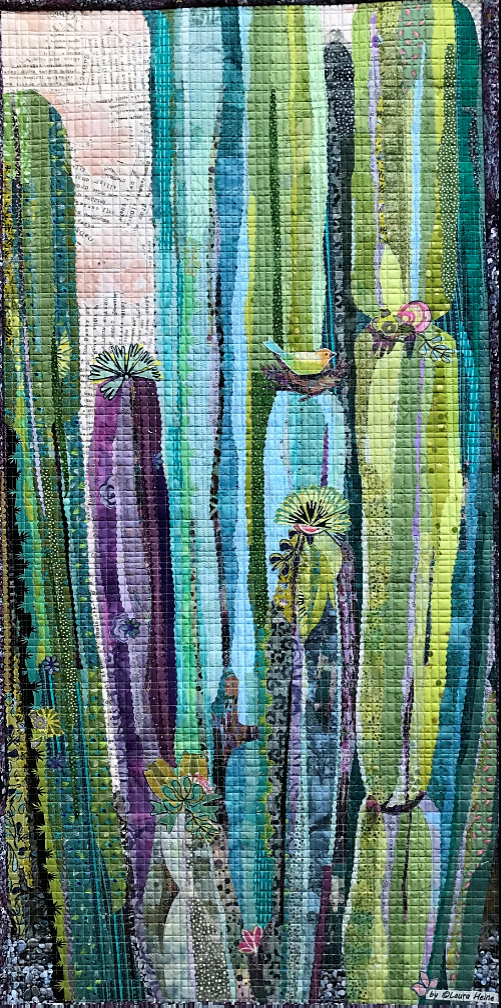 Painted Cactus Collage Quilt Pattern by Laura Heine.