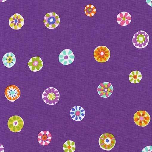 DC6867PLUMD Folk Floral Dot by Michael Miller 100% cotton