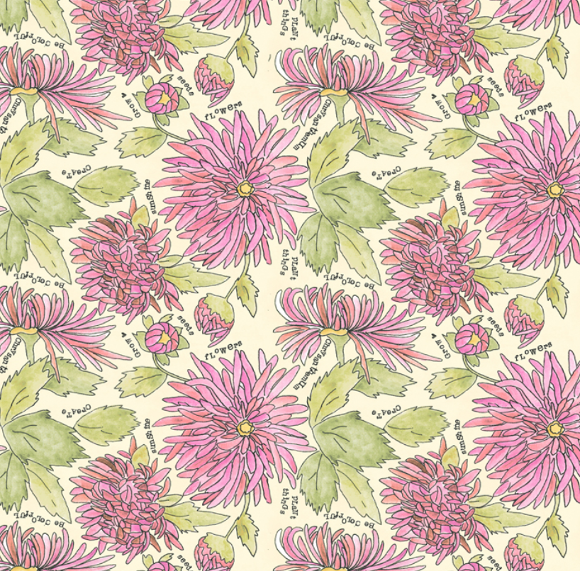 51655 4 Potpourri Chrysanthemums by Laura Heine for Windham Fabrics. 100% cotton 43 wide