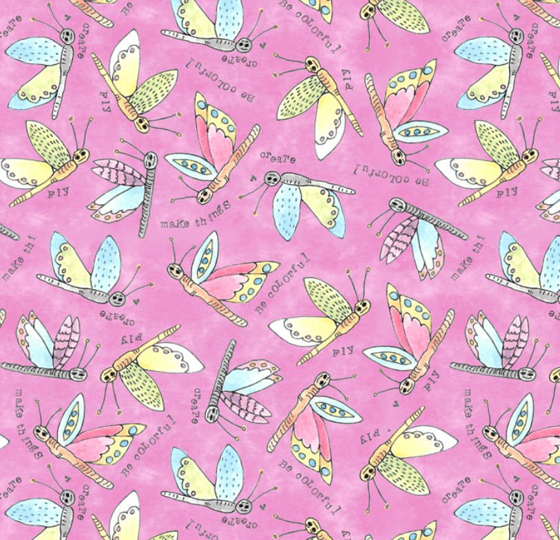 51657 4 Potpourri Flying Critters by Laura Heine for Windham Fabrics. 100% cotton 43 wide