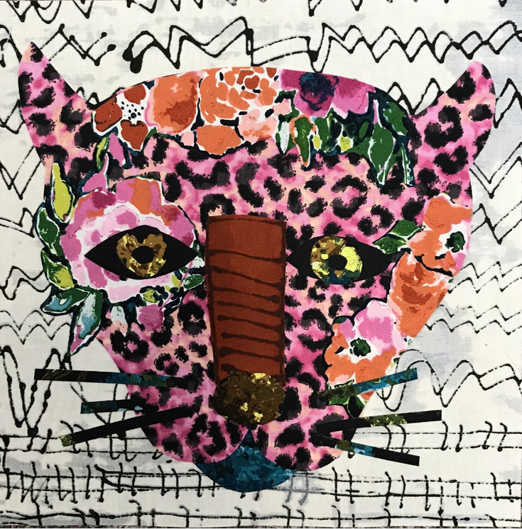Wholesale Whatevers! #1 Pink Panther 8 inch Block Collage Pattern Only by Laura Heine