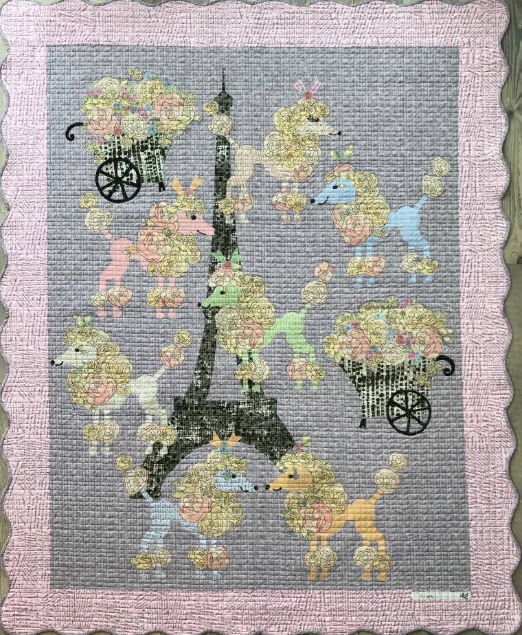 Poodles in Paris Collage Quilt Kit by Laura Heine