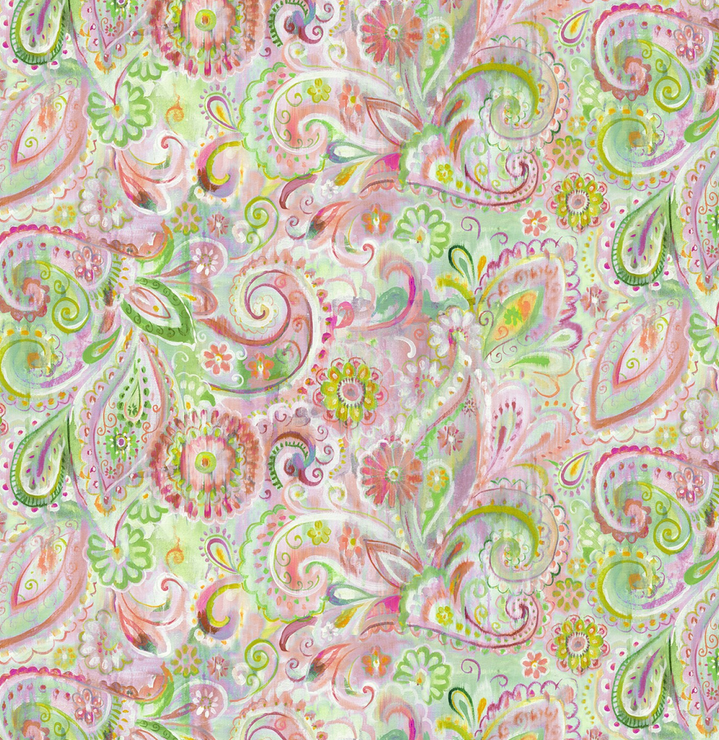 1077 89196 375 Dream Paisley Pink for Wilmington Prints. 100% cotton 43 wide