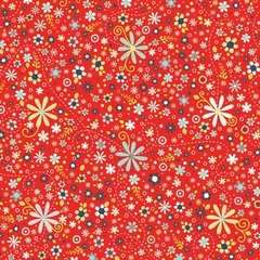 00562 Daisy Spray Red Nested Owl Collection 100% cotton 44 wide