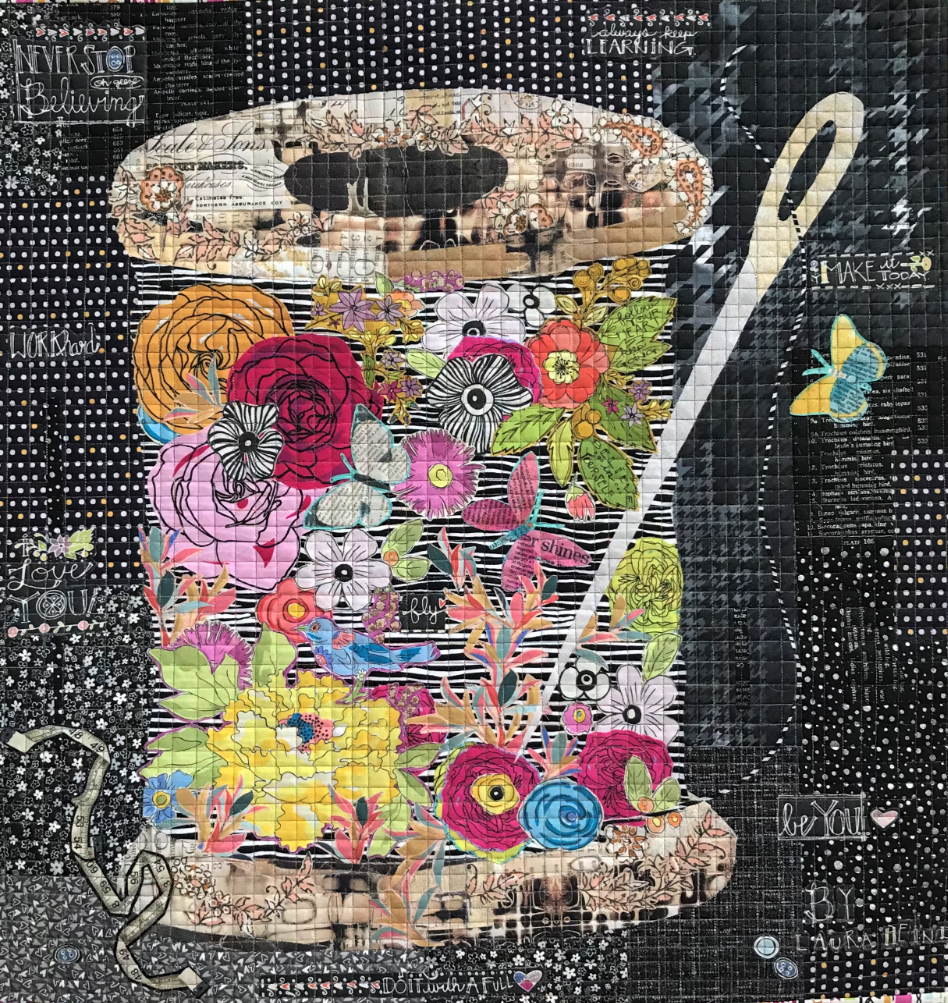 Spool of Flowers Collage Quilt Kit by Laura Heine.