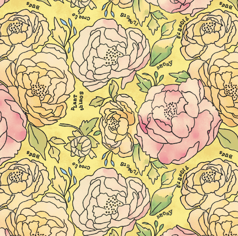 51654 2 Potpourri Bed of Roses by Laura Heine for Windham Fabrics. 100% cotton 43 wide
