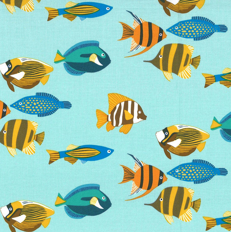 CX8393 AQUA D Fishtopia for Michael Miller Fabrics. 100% cotton 43 wide
