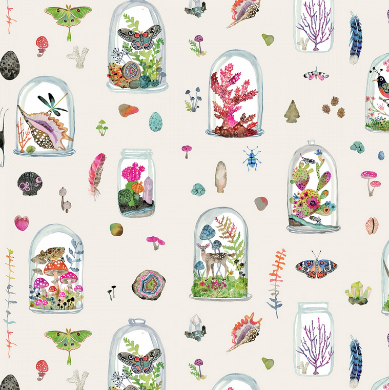 50863 X Curio by Betsy Olmsted for Windham Fabrics.  *Suggest getting 1/2 yard or more to get a couple terrariums* 100% cotton 43 wide