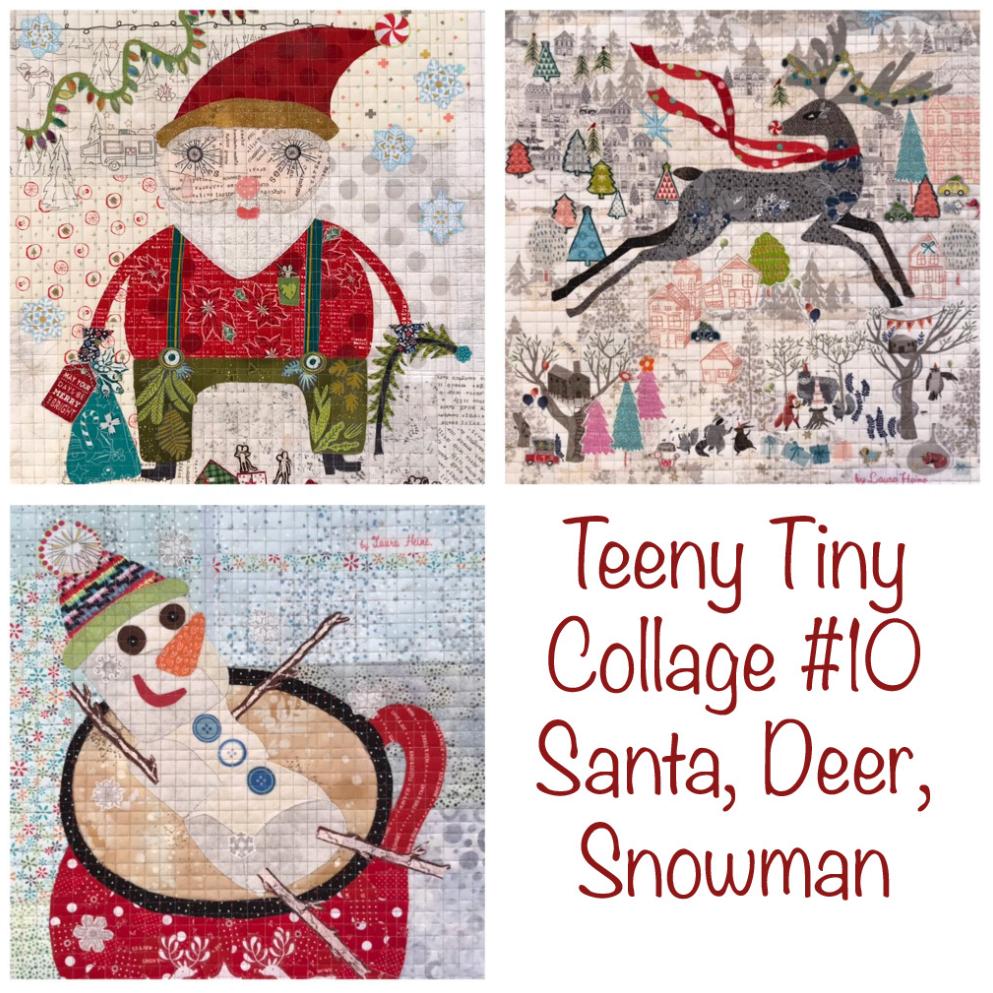 Teeny Tiny Collage PATTERN Group #10 Santa, Deer, Snowman