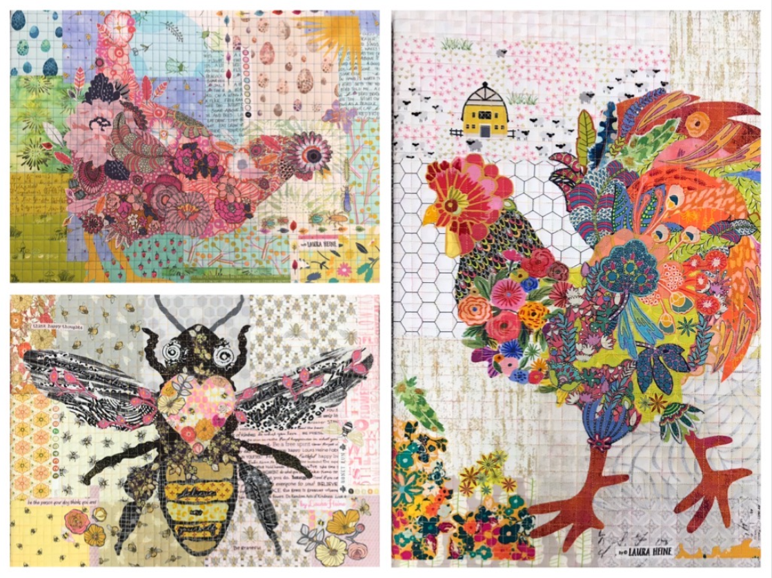 Teeny Tiny Collage PATTERN Group #6 Rooster Hen Bee