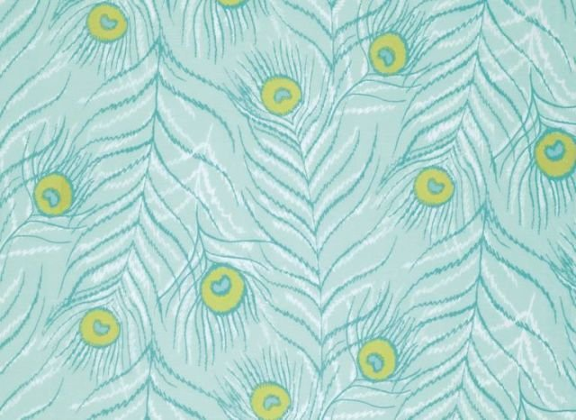 VOZR 0048 TEAL Feathers from Flower Garden by Zandra Rhodes for