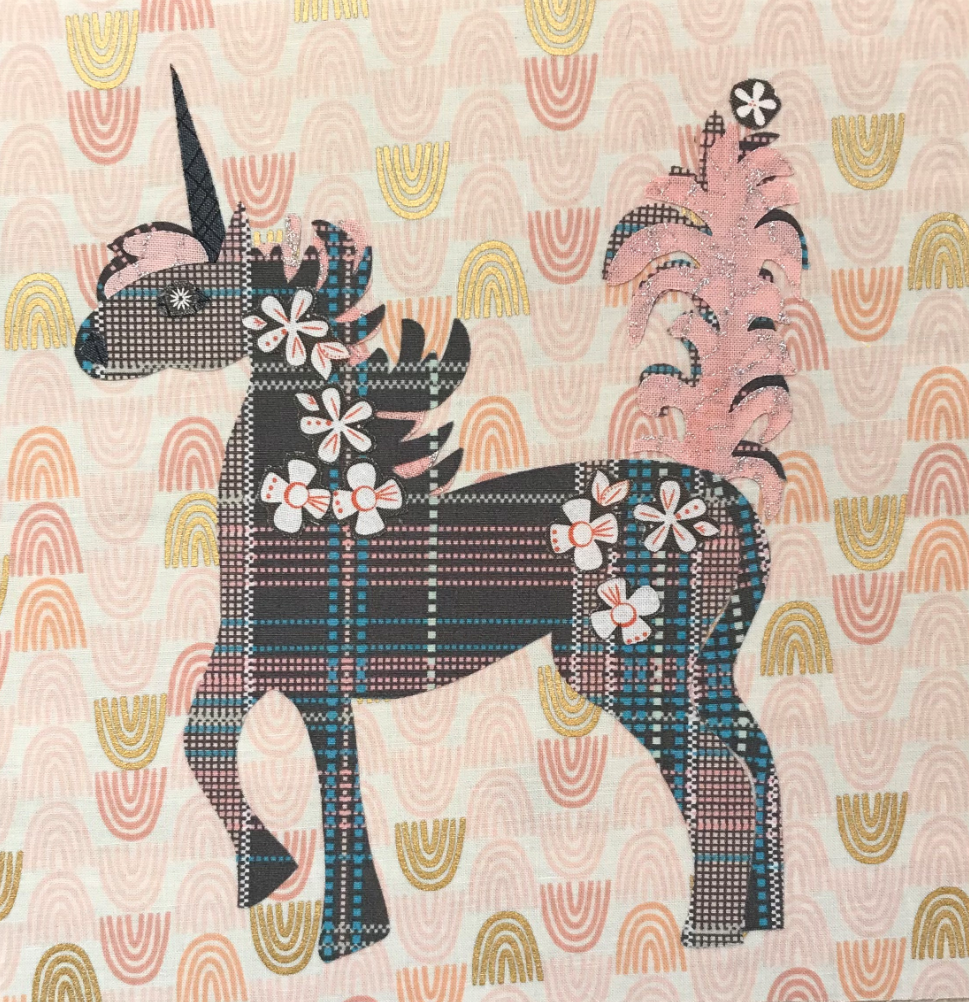 Whatevers! #30 Unicorn 8 inch Block Collage Pattern Only by Laura Heine